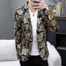 Load image into Gallery viewer, Vintage pattern Blazers Men Golden Silver Wedding Jacket One Button Tuxedos Jackets Slim fit Coat