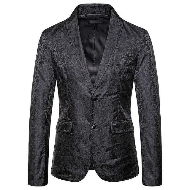 Wedding Coat for Men's Blazers and Jackets Man single-breasted Embossing Slim fit Khaki Black Coat