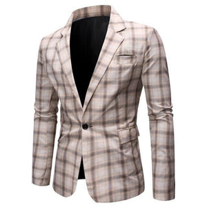 Wedding Coat for Men Casual Plaid Man Blazer Slim fit Leisure Men's clothes Blazer Jacket