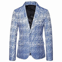 Load image into Gallery viewer, Casual Blazer Men Colorful Cashew Flower Embossing Tuxedos Wedding Man Coat Jacket Brown Red Navy