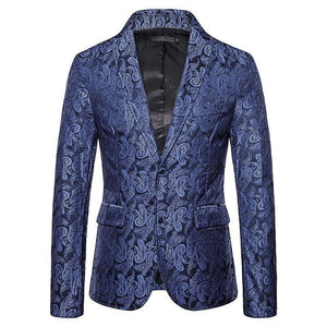 Casual Blazer Men Colorful Cashew Flower Embossing Tuxedos Wedding Man Coat Jacket Brown Red Navy