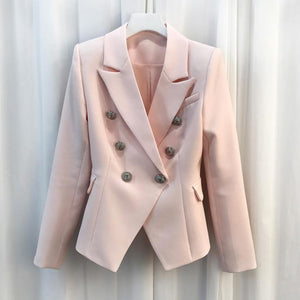 HIGH QUALITY Women Fashion Blazer Jacket Women's Silver Lion Buttons Double Breasted Blazer Outerwear