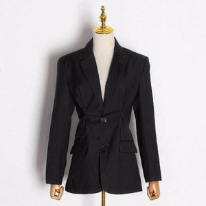 Women's Elegant OL Style Blazer Lapel Collar Long Sleeve Tunic Loose Ruched Fashion Blazer Coat