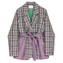 Load image into Gallery viewer, Women Plaid Pu Leather Blazer New Lapel Long Sleeve Loose Fit  Jacket Fashion Tide Work Wear