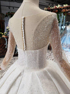 Perspective Crystal Decorated Top Buckle Back Wedding Dresses Long Sleeves Ball-Gowns vesridos de novia