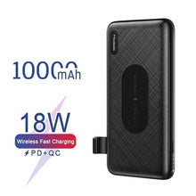 Load image into Gallery viewer, 10000mAh Qi Wireless Charger Power Bank for iPhone Samsung Huawei USB C PD 18W Quick Charge 3.0 Portable External Battery