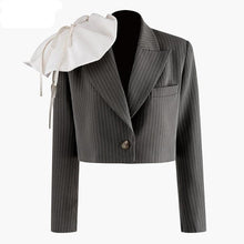 Load image into Gallery viewer, Women Three-dimensional Striped Short Blazer New Lapel Long Sleeve Loose Fit  Jacket Fashion Blazer