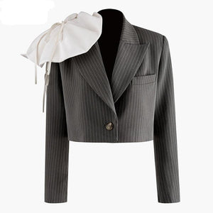 Women Three-dimensional Striped Short Blazer New Lapel Long Sleeve Loose Fit  Jacket Fashion Blazer