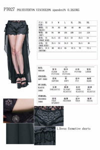 Fashion Gothic Black Sexy Shorts with Long Lace Steampunk Women Cool Shorts Personalized Trousers Skirt