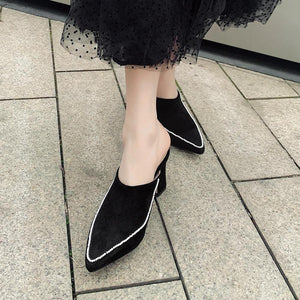 ladies elegant concise mixed-color mules daily casual slip-on heeled mules women high heels dress shoes woman
