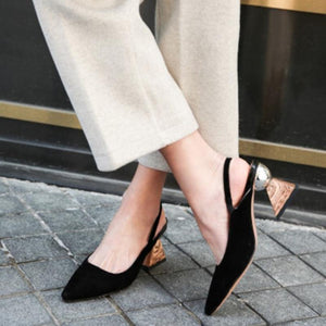 Women High Heels Shoes Real Leather Shoes Women Pumps New Design Heels Small Square Toe Fashion Footwear