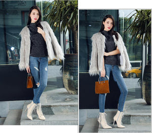 Woman Warm snow Boots Lace-Up sexy boots 10cm thin heels Short Plush boot women Pointed Toe Ankle boots