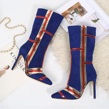 Load image into Gallery viewer, Nightclub Women Ribbon matching boot Zip Ladies Boots 8cm Thin heels Ladies Party Wedding boots