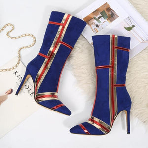 Nightclub Women Ribbon matching boot Zip Ladies Boots 8cm Thin heels Ladies Party Wedding boots