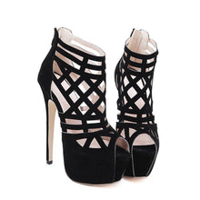 Load image into Gallery viewer, Women cool boots woman Cross-strap Shoes Women 16cm thin heels dancing ankle Boots open toe pumps