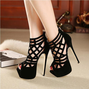 Women cool boots woman Cross-strap Shoes Women 16cm thin heels dancing ankle Boots open toe pumps