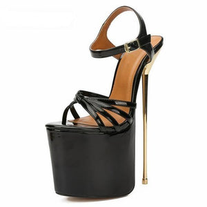 woman sexy 22cm Ultra High Metal Thin Heel Sandals Peep Toe Platforms shoes Office Pumps