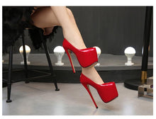 Load image into Gallery viewer, Woman 18cm Thin heel women shoes Round Toe Platform Ladies Party Wedding Pumps