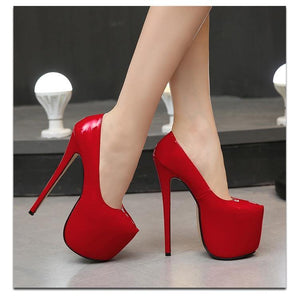 Woman 18cm Thin heel women shoes Round Toe Platform Ladies Party Wedding Pumps