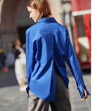Load image into Gallery viewer, Women Royal Blue shirt women Lapel Blouse fashion Safari style Street Wear top Clothing loose Blouse