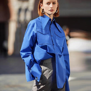 Women Royal Blue shirt women Lapel Blouse fashion Safari style Street Wear top Clothing loose Blouse