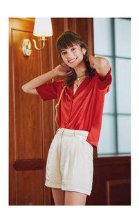 Women Blouse Elegant Satin Shirt Turn Down Collar Women Casual Blouse Women Street Wear Tops