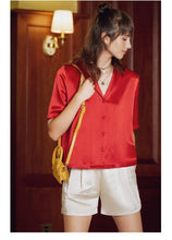 Load image into Gallery viewer, Women Blouse Elegant Satin Shirt Turn Down Collar Women Casual Blouse Women Street Wear Tops