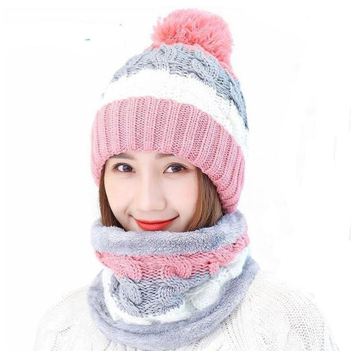 Set Hats Women Winter Beanies Velvet Thick Bib Mask Ear Protector Skullies Beanie Hat Riding Hat Female Warm knitted Wool Cap