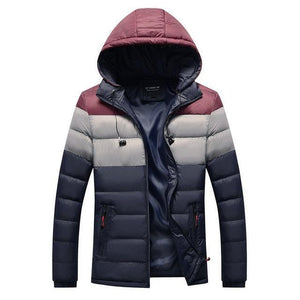 Men's Winter Parka Patchwork Wadded Jacket with Earphone Cables Casual Warm Hooded Cotton-Padded Coat Windproof