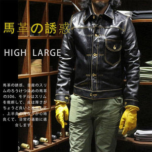 super quality genuine horse leather jacket slim classic horsehide leather rider jacket