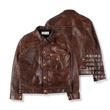 Load image into Gallery viewer, super quality genuine horse leather jacket slim classic horsehide leather rider jacket