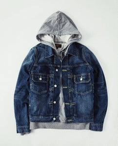 cotton denim jacket casual long sleeve washed denim coat