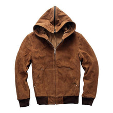 Load image into Gallery viewer, men's cow leather jacket mens genuine cowhide leather vintage hoodie jacket