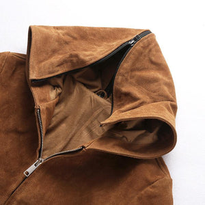 men's cow leather jacket mens genuine cowhide leather vintage hoodie jacket
