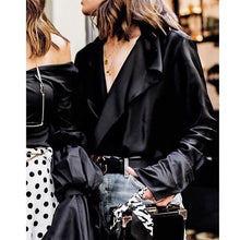 Load image into Gallery viewer, Fashion V-neck women blouse satin shirt long sleeve blouses loose casual streetwear female top blouse