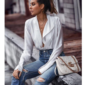 Fashion V-neck women blouse satin shirt long sleeve blouses loose casual streetwear female top blouse