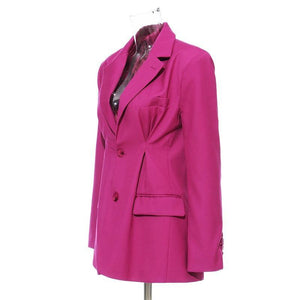 Women Rose Red Pleated Split Temperament Blazer New Lapel Long Sleeve Loose Fit  Jacket Fashion Work Wear