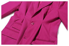 Load image into Gallery viewer, Women Rose Red Pleated Split Temperament Blazer New Lapel Long Sleeve Loose Fit  Jacket Fashion Work Wear