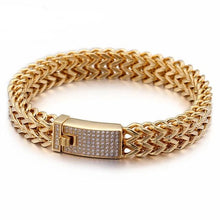 Load image into Gallery viewer, 316 Stainless Steel Link Chain Bracelets For Men women Rhinestone Charm Trendy Gold Mesh Chain Bracelet Male female Birthday Gift