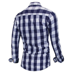 Men's Plaid Shirt 100% Cotton Long Sleeve Casual Fashion Social Business Style Dress Shirts