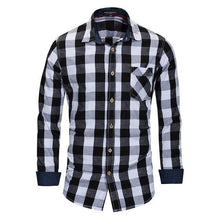 Load image into Gallery viewer, Men's Plaid Shirt 100% Cotton Long Sleeve Casual Fashion Social Business Style Dress Shirts