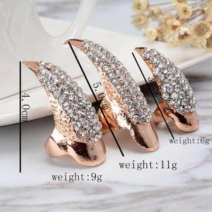 original single punk style luxury Inlaid zircon Cat demon tip grab long nail sets of rings