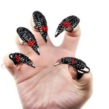 Load image into Gallery viewer, original single punk style luxury Inlaid zircon Cat demon tip grab long nail sets of rings