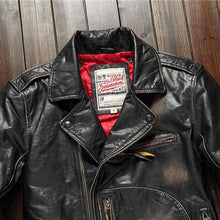 Load image into Gallery viewer, Fashion Leather Jacket Men Genuine Cow Motorcycle Male Vintage Jacket Red Brown Motor Biker Coat