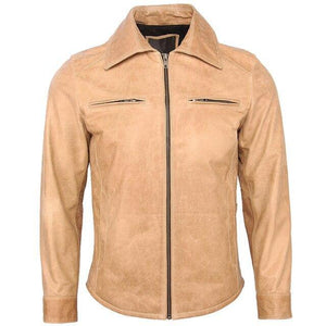 Men's Leather Jacket 100% Sheepskin Soft Thin Slim Fit Ginger yellow Men Leather Jacket Man Skin Coat Autumn