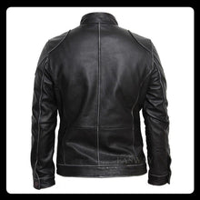 Load image into Gallery viewer, Genuine Leather Jacket Men Leather Jackets Real Cowhide Black Men's Leather Jacket Men's Biker Leather Coat Winter