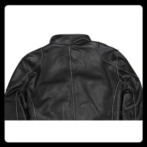 Genuine Leather Jacket Men Leather Jackets Real Cowhide Black Men's Leather Jacket Men's Biker Leather Coat Winter