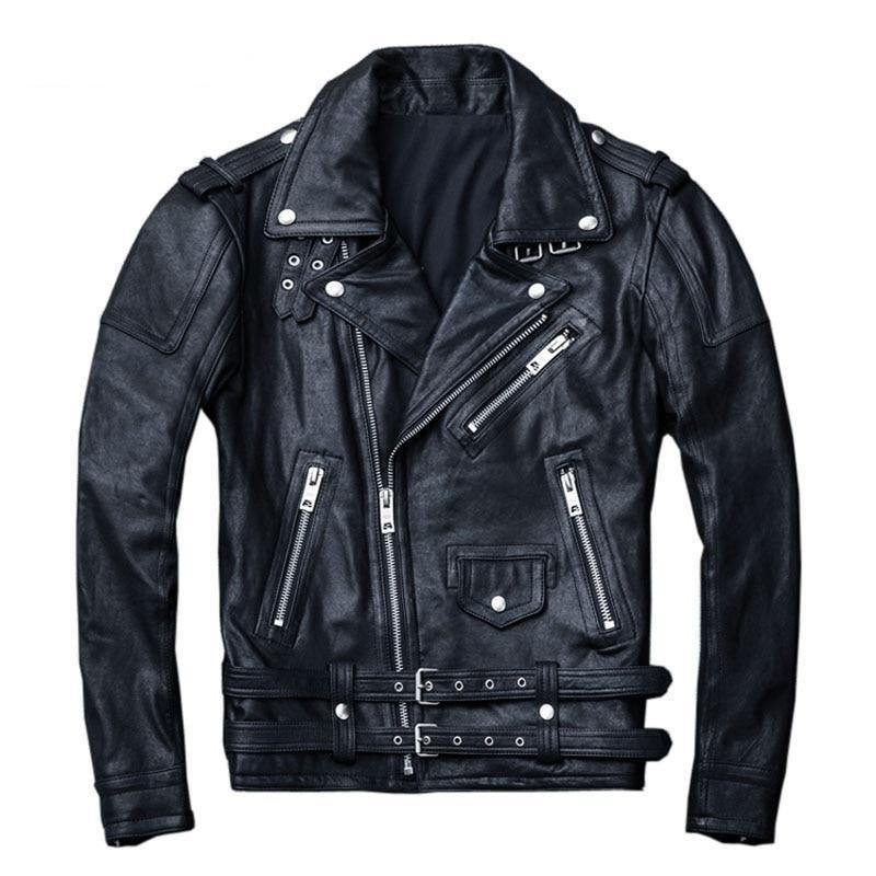 100% Natural Sheepskin Tanned Leather Jacket Black Soft Men's Motocycle Jackets Motor Clothing Biker Coat Autumn