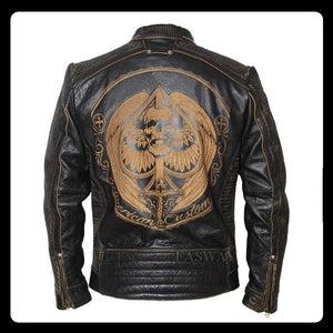 Vintage Motorcycle Jacket Men's Leather Jacket Cowhide Black Skull Genuine Leather Jacket Men Biker Coat Winter