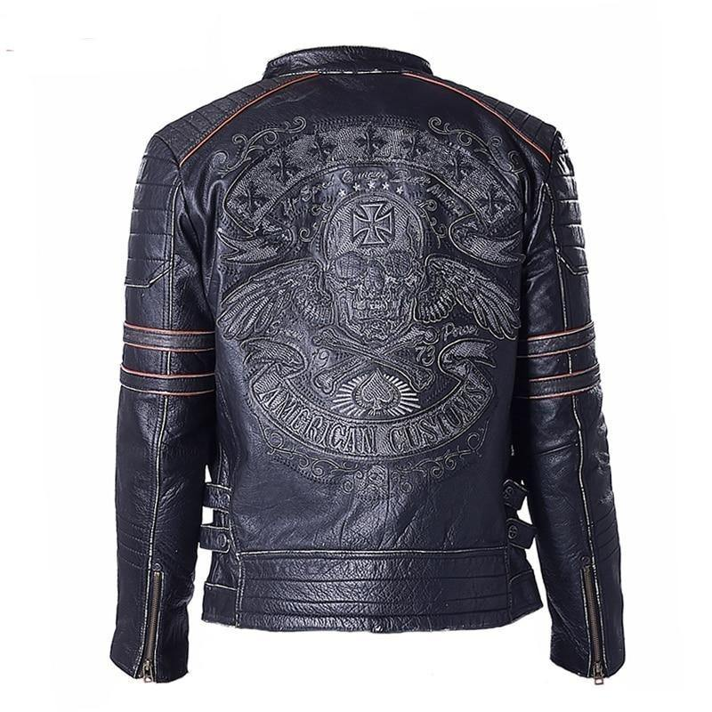 Genuine Cow Skin Skull Leather Motorcycle Jacket Men's Leather Jackets Men Motor Biker Jacket Male Leather Coat